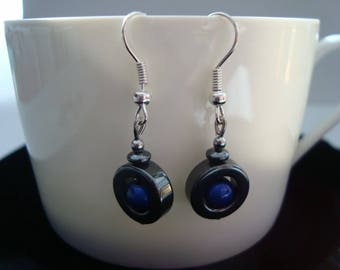 Earrings with hematite and blue glass round beads