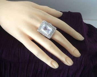 Silver ring rectangular stone & rhinestones size 60