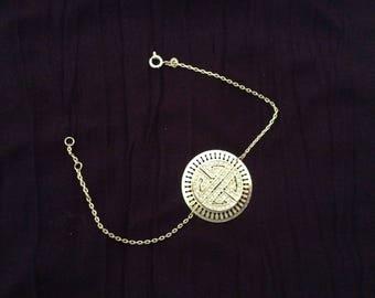 Bracelet fine plated gold & rhinestone