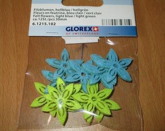 set of felt flowers, green and blue