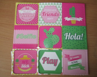 set of 9 magnets cactus was