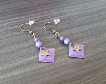 Diamond star Earrings purple