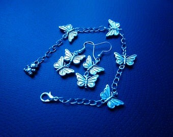 Silver tone butterfly set with bracelet and earrings