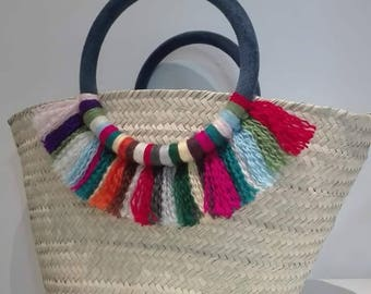 Basket with multi color tassel