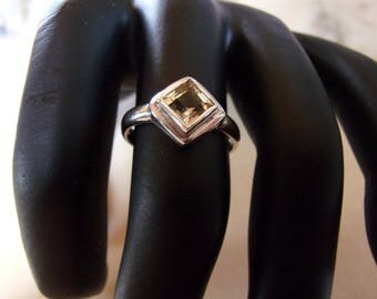 Silver ring and gemstone (citrine)