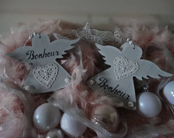 Angel wooden decorated lace writing