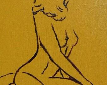 Silhouette - peinture acrylique femme nue de profil - tableau jaune violet dessin corps sensuel cadeau homme pour lui anniversaire nu ombre