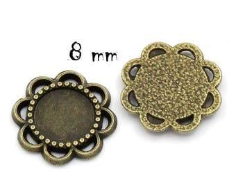 Set of 50 pendants 8 mm bronze paste cabochons