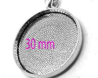 Silver 30 mm stick cabochon pendant 30 mm 1