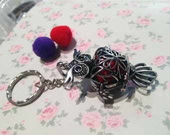 Keychain with a fragrance diffuser + 2 PomPoms OWL pendant