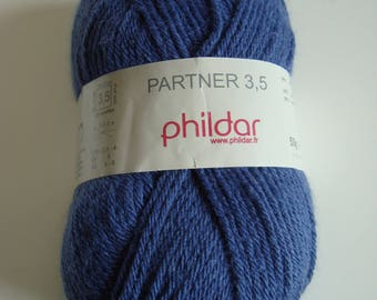 Wool PARTNER 3.5 Phildar - 50 g - NAVAL - needles 3-3, 5 - worsted wool Polyamide