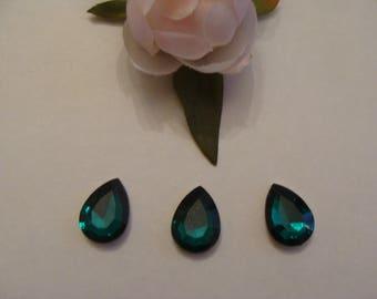 Set of 3 dark green acrylic rhinestone cabochons faceted 14 * 18 mm