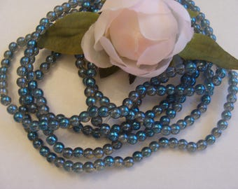 Set of 10 glass beads round blue/grey color