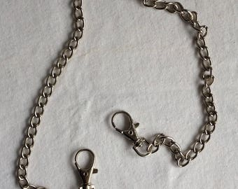 Silver chain 52 cm with two hooks for bags, sewing notions designs
