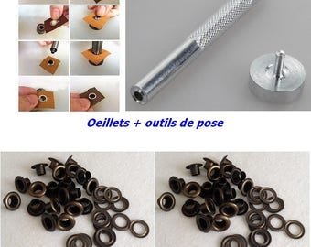 Bronze eyelet + setting tools with rondelle 10 mm for DIY curtain hip bag