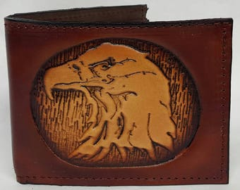 Eagle Head Embossed Bifold Leather Wallet