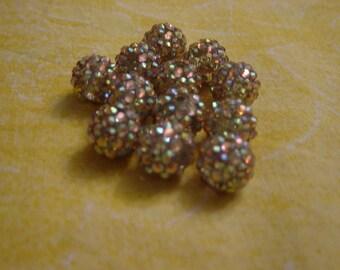 1 bead shambhala Golden iridescent 14 mm