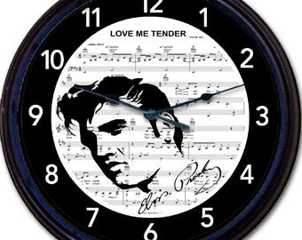 "Elvis Presley Love Me Tender sheet Music Wall Clock silhouette song Singer New 10"""