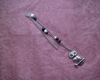 Black and white OWL charm necklace
