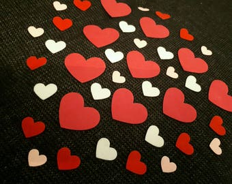 SET OF 40 SELF-ADHESIVE FELT HEART EMBELLISHMENTS SIZES DIFFERENT SCRAPBOOKING
