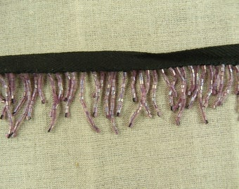 Ribbon purple seed beaded fringe