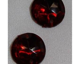 round acrylic rhinestone - 18 mm - Burgundy