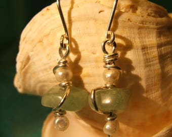 Silver earrings with natural Pearl and jade
