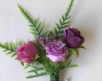 Wedding and Prom Mens Boutonniere in Pink and Purple