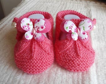 Wool form sandalette Butterfly fushia 0/3 month baby booties