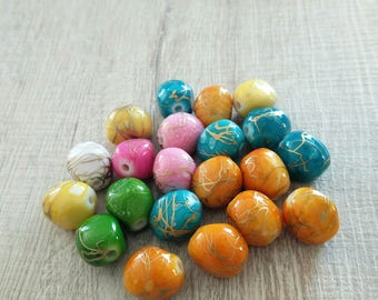 Multicolored acrylic beads 21 oblong shape