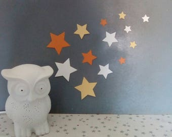 Set of stars in Orange tones for wall decoration