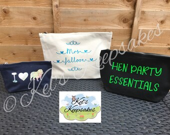 Personalised make up bag - wash bag - bits and bobs bag - travel accessory bag - cosmetics bag - gift bag