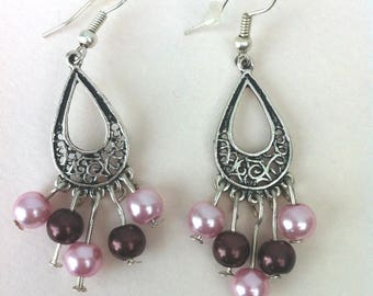 Brown/pink tone ball shape earrings