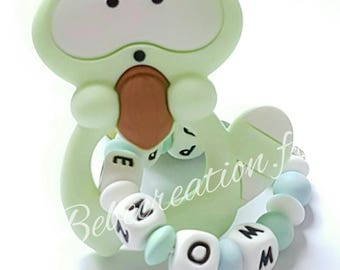 personalized while silicone raccoon rattle