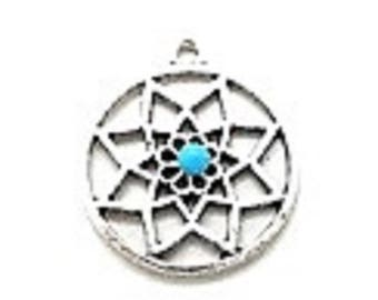 Charm or pendant Silver Star with turquoise cabochon