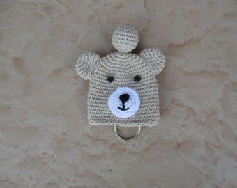 Crochet beige bear keychain