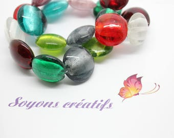 Set of 10 20mm mixed color - SC22149 murano style glass pearls.
