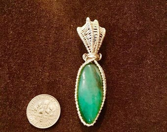 Wire-wrapped Aventurine Pendant