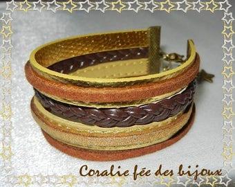 Golden Strip Cuff Bracelet, braid and other straps gold/brown tones
