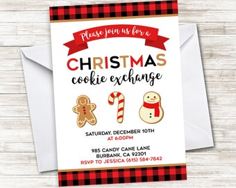 Christmas Cookie Exchange Invite Decorating Party Invitation Holiday Plaid Digital 5x7