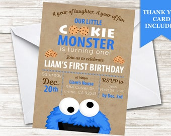 Generic Cookie Invitation Monster Invite Digital 5x7 Blue Sesame Paper Boys 1st First Birthday Party