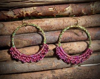 Cassis creole earrings crocheted rhinestone beads