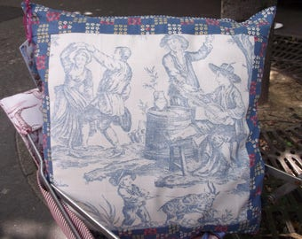 Blue French toile de jouy print pillow cover