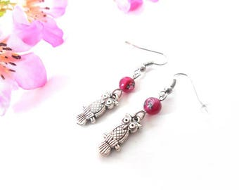 Pink owls with Indian glass bead earrings