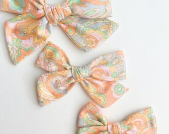 Pinwheel Bow, mini pinwheel bow, vintage hair bow, pastel hair bow, paisley hair bow, spring hair bows, Easter hair bows, baby bow headbands