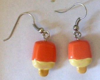 Earrings sticks of ice and ice cream kawaii H1.7cmxL1cm and orange