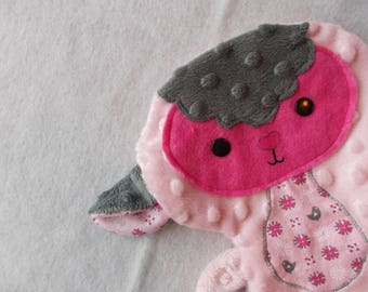 Doudou sheep/lamb soft gray and pale pink * available *.