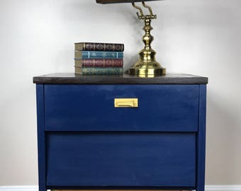 Upcycled Navy and Gold Night stand // Bedroom // Living Room // End Table // Chalk Paint // Metallic Gold Legs // Painted Furniture