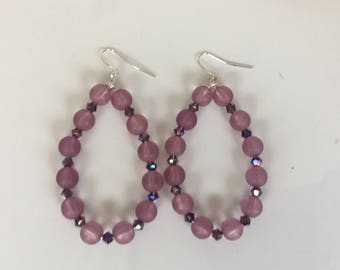 Purple Beaded Hoop Earrings