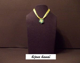 Green & yellow polymer clay pendant